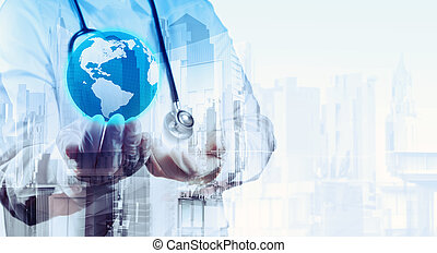 Double exposure of smart medical doctor holding the world with a