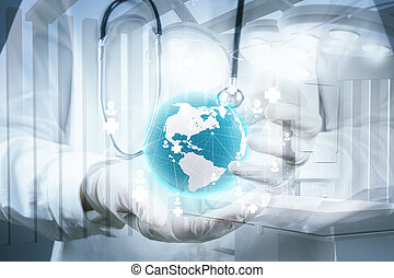 Double exposure of smart medical doctor holding the world with o