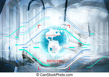 Double exposure of smart medical doctor holding the world with operating room as concept