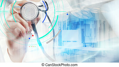Double exposure of smart medical doctor working with operating room as concept