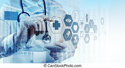 Double exposure of smart medical doctor working with ...
