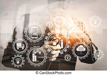 Double exposure of success businessman holding digital ...