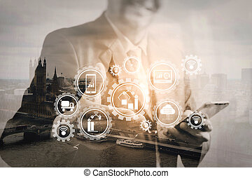 Double exposure of success businessman open his hand with London building, city, river, Bigben, front view, filter effect