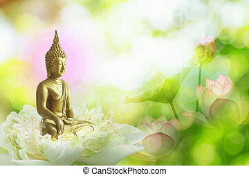 double exposure of the lotus flower or water lily and face of buddha statue.