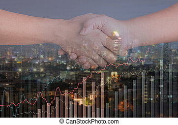 double exposure of two man shaking hands and business graph over city background