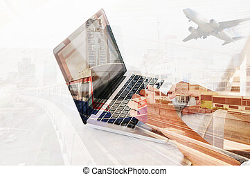 Double Exposure of Young Man use Notebook or Laptop Computer...