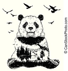 Double exposure, panda bear and forest landscape - Vector...