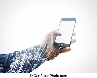 Double exposure photo businessman holding modern smartphone hand, touching blank screen.Isolated white, contemporary city background. Ready for your business message. Horizontal mockup. Film effect
