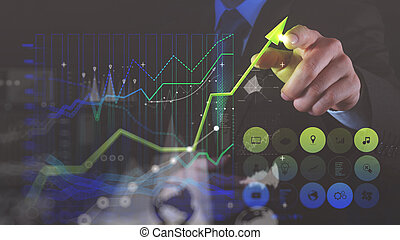double exposure photo of businessman hand drawing virtual chart business on touch screen computer