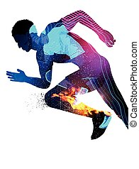 Double Exposure Running Man - Double exposure effect vector...