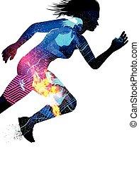 Double Exposure Running Woman - Double exposure effect...