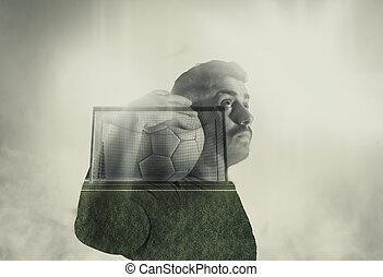 Double exposure soccer