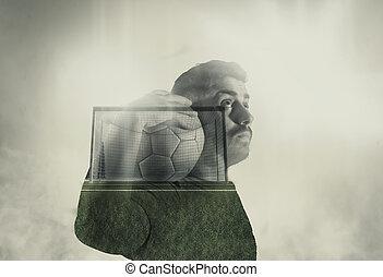 Double exposure soccer