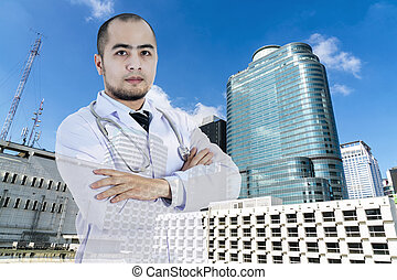 Double exposure to smart doctor posting with abstract hospital building