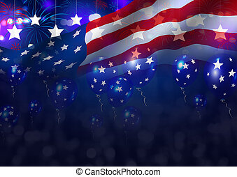 Double exposure USA background design for independence day and other celebration