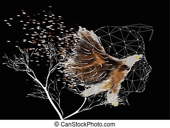 double exposure. man and bird on black background with tree