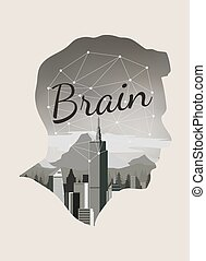 Double exposure vector for brain concept