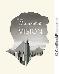 Double exposure vector for business vision