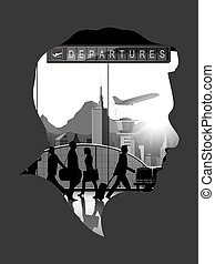 Double exposure vector with airport background
