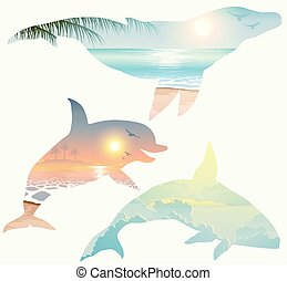 Double exposure, whale, dolphin, wildlife concept - Double...