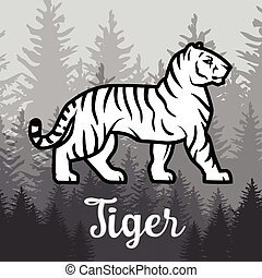 Double exposure White Tiger in forest poster design. vector...