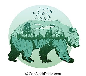 Double exposure, wild bear and forest, wildlife concept