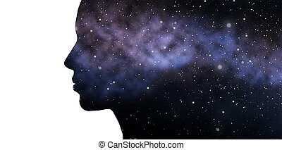 beauty, science, technology and people concept - woman profile with abstract polygonal space with connected dots and lines