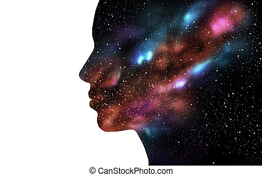 double exposure woman and galaxy - beauty, science, ...