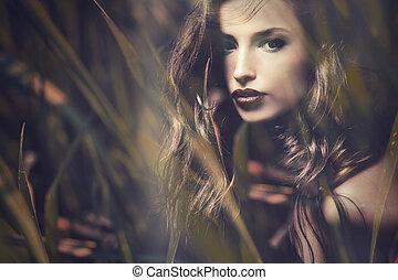 double exposure woman - beautiful long hair brunette woman...