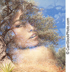 double exposure woman - beautiful woman portrait double...