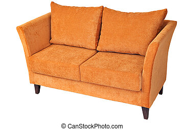 Double fabric sofa with orange colored, isolated on white.