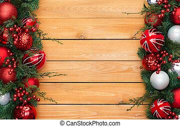 Double festive Christmas border on cedar