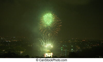Double fireworks in Australia - A steady long shot of...