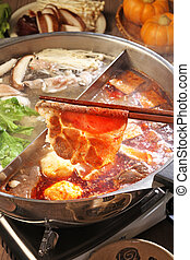 double flavor hot pot - Double flavor hot pot on the table...