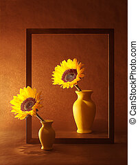 Double Frame - Still life with sunflowers