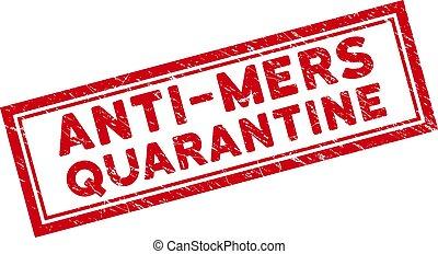 Double Framed Distress Anti-Mers Quarantine Rectangle Seal