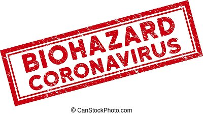 Double Framed Distress Biohazard Coronavirus Rectangular Watermark