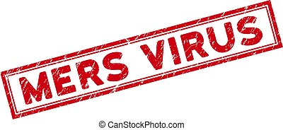 Double Framed Distress Mers Virus Rectangular Stamp Seal