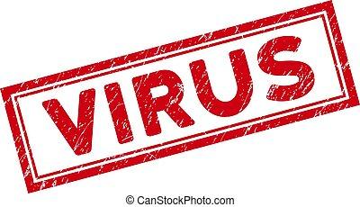 Double Framed Distress Virus Rectangular Stamp Seal