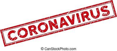 Double Framed Grunge Coronavirus Rectangular Stamp Seal