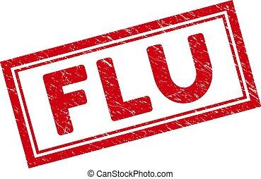 Double Framed Grunge Flu Rectangle Stamp