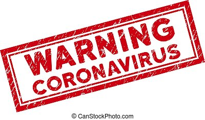Double Framed Scratched Warning Coronavirus Rectangle Stamp