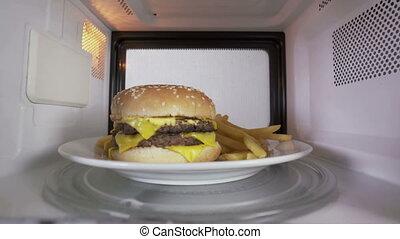 double, frire, micro ondes, cheeseburger, réchauffer, francais