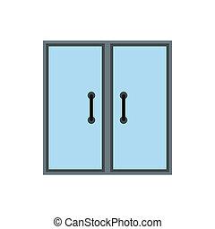 Double glass door icon, flat style