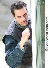 double-glazed, homme, fenêtre, installation