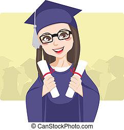 Double Graduation - Joyful brunette with eyeglasses...