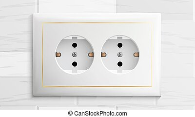 Double Grounded Socket Vector. Switch. Brick Wall. Realistic Illustration
