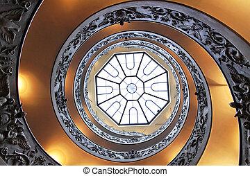 double hélice inscription, escalier