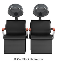Double hair dryer chairs isolated on white background