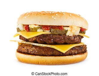 double hamburger on white background